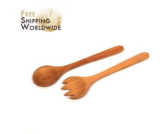 Wooden Salad serving mixing Set Wide from Cherry wood