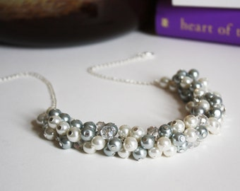 Gray Bridesmaid Necklace, Gray and Ivory Pearl Necklace, Gray Necklace, Bridesmaid Gift, Gray and Ivory Cluster Pearl Necklace, Wedding Gift