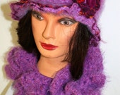 OOAK SOFT Long Curly Purple Lavender Crocheted Scarf - the hat has been sold, but I can make another similar one.