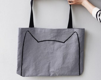 Over-sized Cat Tote Bag, gift for cat lover , market bag, cat lady gift for her funny tote bag, cat lady tote bag, cat ears, bookworm gift