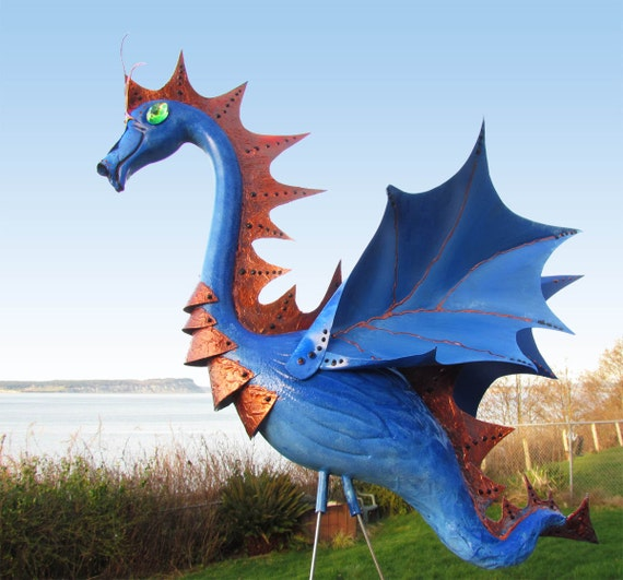 Sky Blue and Copper Garden Dragon - handmade garden art  made from a recycled pink plastic flamingo.