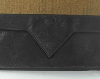 1980s Designer Bag By Carey Adina Black Leather Moc Skin Hand Bag Purse Clutch Envelope Large Classic High Fashion Soft Supple Leather Bag