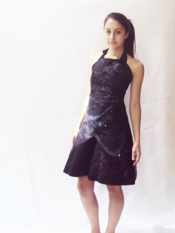90s navy dress / shiny / HOLOGRAPHIC dress / s, m