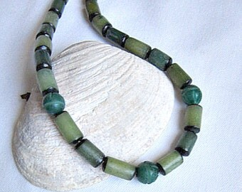 Mens Surfer Necklace, Green Betel Nut Bead Necklace,   ID 295