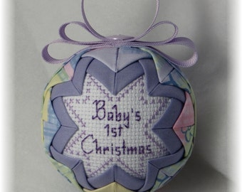 Baby's First Christmas Quilted Ornament - Rocking Horse - Lavender