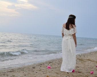 Alternative Wedding Dress Ivory  Cotton Lace 70s Wedding Dress Long Wedding Gown Vintage Wedding Gown - Handmade by SuzannaM Designs