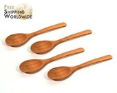 Wooden Spoons for eating soups and other fluid food - adult size - SET of 4 from Cherry wood - extra quality - 22