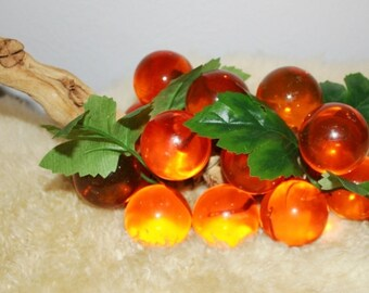 Vintage Acrylic Amber Grape Cluster Retro Mid Century Home Decor Large Golden Orange Lucite Decor