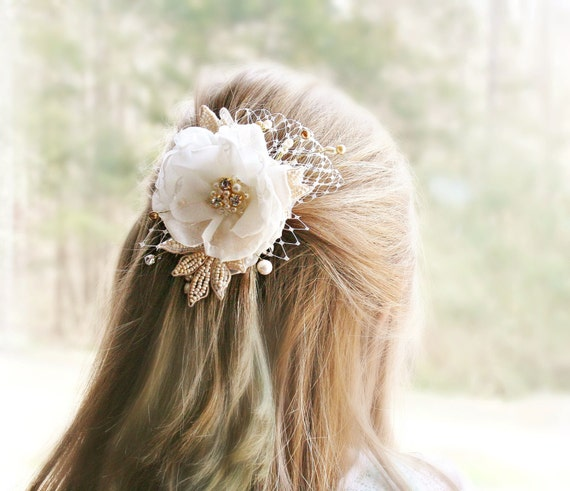 Ivory Bridal Hair Accessory, Wedding Head Piece, Bridal Hair Flower, Gold Wedding, Ivory Wedding, Hair, Accessories