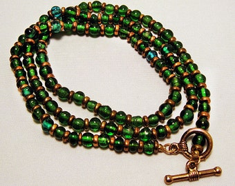 3 Strand Wrap Bracelet with Dark Green & Gold Beads