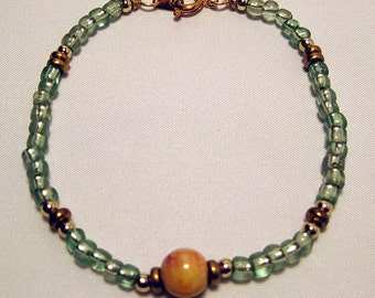 Green Bracelet with Ceramic Bead