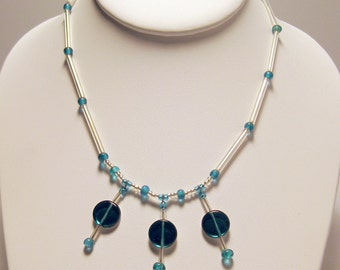 Aqua & Clear 14 Inch Necklace with Triple Beaded Accents