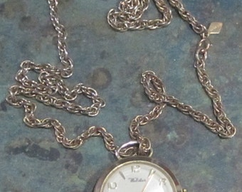 Vintage Webster Pendant Pocket Watch with Sarah Coventry Chain 1960 Era
