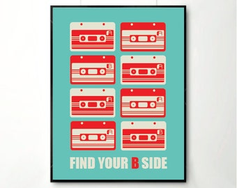 Inspirational quote print poster, mid century poster, retro poster, happy art, Tape Poster, blue red