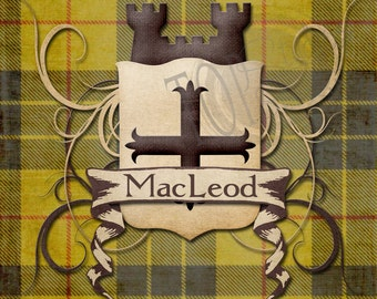 Clan Tartan with Shield and Castle 8x10 print Customized with your tartan