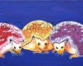 Miniature Archival Watercolor Paper Print, Gumball Hedgehogs on Lapis, 3.5 x 6.5, Hedgehogs, Quills, Spines, Hogs, Pets, Oranges, Purples