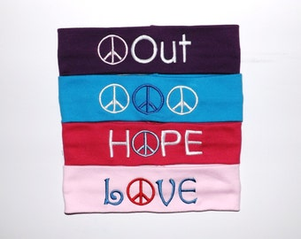 Set of 4 Peace Headbands - Comes As Shown