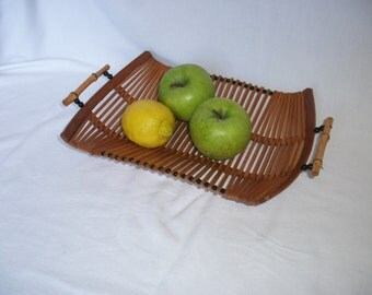1960/70s Fruit Basket Scandanavian Bamboo Vintage Retro