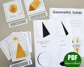 Digital Printable PDF Download Montessori Geometic Solids and Projections Nomenclature 3 Part Cards