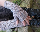 Lindenroot Mitts Knitting Pattern Cabled Fingerless Gloves Long Mens Womens