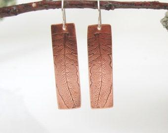 Fern Earrings,  Copper Earrings, Botanical Jewelry