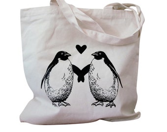 PENGUIN Tote Bag -  Penguins in Love - Natural Canvas Totebag