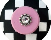 Black White and Pink Checks Swarovski Crystal Jeweled Hand Painted Wood Dresser Decorative Furniture Home Decor Kids Teen Drawer Pulls Knobs