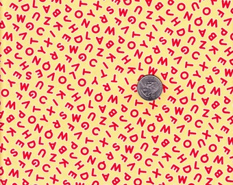 One yard - Pam Kitty Morning Yellow Alphabet Toss - Lakehouse cotton quilt fabric