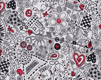 White Scribble Geek Chic - Timeless Treasures  cotton quilt fabric - half yard