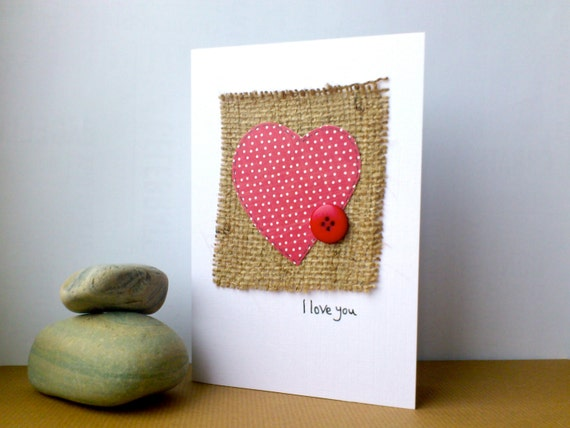 Rustic Valentines Day Card - romantic love heart with button detail- burlap and hessian cards