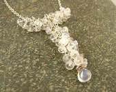 Rainbow Moonstone Cascading Gemstone Necklace // Sterling Silver Wire Wrapped Y Gem Necklace // Bridal Necklace
