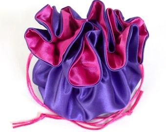 Satin Bridal Money Purse Purple and Hot Pink  No Pockets