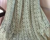 Light Sage Green Hand-Crocheted 4-1/2' x 5-1/2' DIAMOND TRELLIS AFGHAN