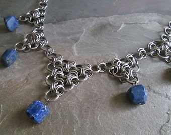 Chainmaille Necklace - Stainless Steel - Japanese Weave - Lapis Lazuli - Chainmail Necklace - Chainmaille Jewelry