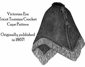 1867 Victorian Tunisian Tricot Crochet Cape Pattern DIY Historical Village Gothic Reenact Goth Accessories