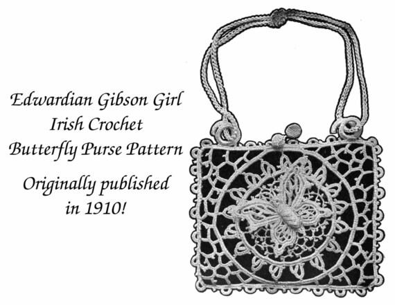 1910 Vintage Irish Crochet Butterfly Purse Handbag Pattern DIY