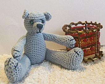 Crochet Pattern, Thread Crochet Teddy Bear, Bluebeary