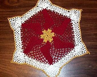 Crochet Doily Pattern, Christmas Pinwheel