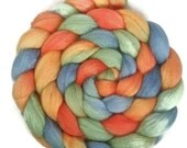 Handpainted Merino Silk 50/50 Wool Roving - 4 oz. TROPICAL SNO - Spinning Fiber