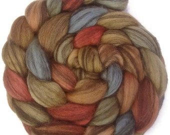 Handpainted Heathered BFL Roving - 4 oz. EARTHEN HUES - Spinning Fiber