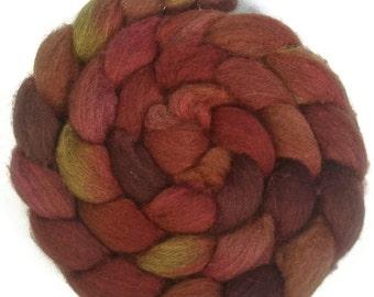Handpainted Dark BFL Wool Roving - 4 oz. TIGER LILY - Spinning Fiber