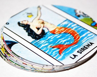 Mexican Loteria Paper Gift Tags Name Cards - Round Set of 10
