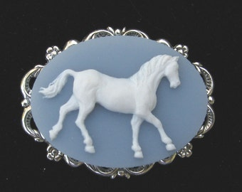 Cameo Brooch or Pendant  Horse Blue and White