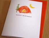 Tent Birthday Card - Birthday Camping Card - Happy Birthday - Hand Printed Birthday Card