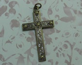 Hand Beaded Filigree Cross Pendant with Purple Patina
