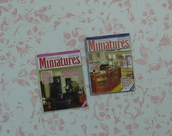 Pair of Handmade Dollhouse Miniatures Magazines - A