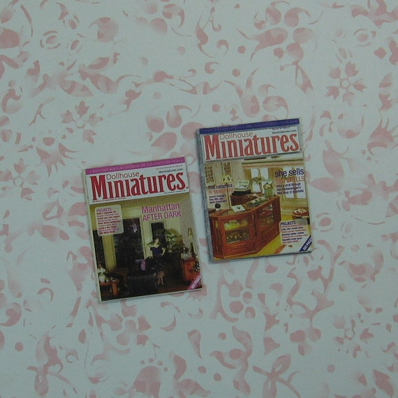 Pair Of Handmade Dollhouse Miniatures Magazines A