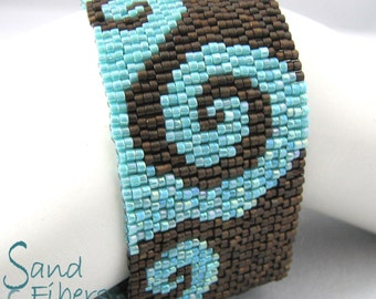 Fiddle Dee Dee in Bronze and Turquoise Peyote Cuff / Peyote Bracelet (3302) - A Sand Fibers Creation