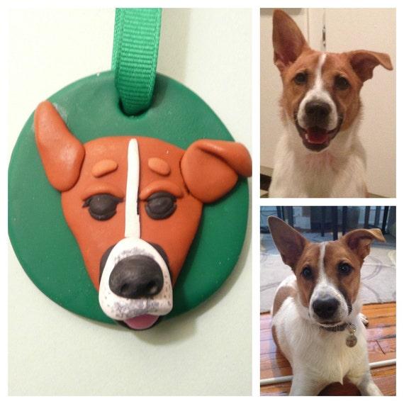 Personalized Pet Ornament, Dog Ornament, Cat Ornament, Pet Portrait From Photo, Pet Memorial, Custom Dog Custom Cat Polymer Clay