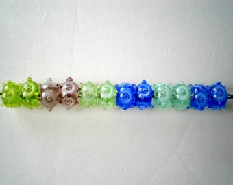 Clearance Sale Lampworked Glass Beads,  6 pairs Glass Beads, Blue Green Purple